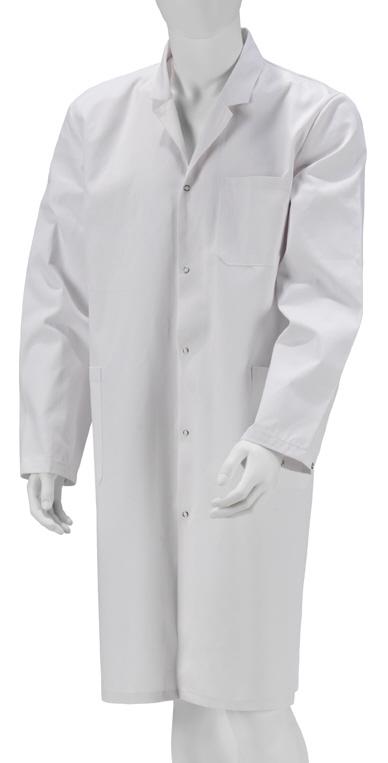 Kokott Unisex Laborkittel, weiß, B-Ware, langarm Kittel aus robuster Baumwolle mit Druckknopfverschluss