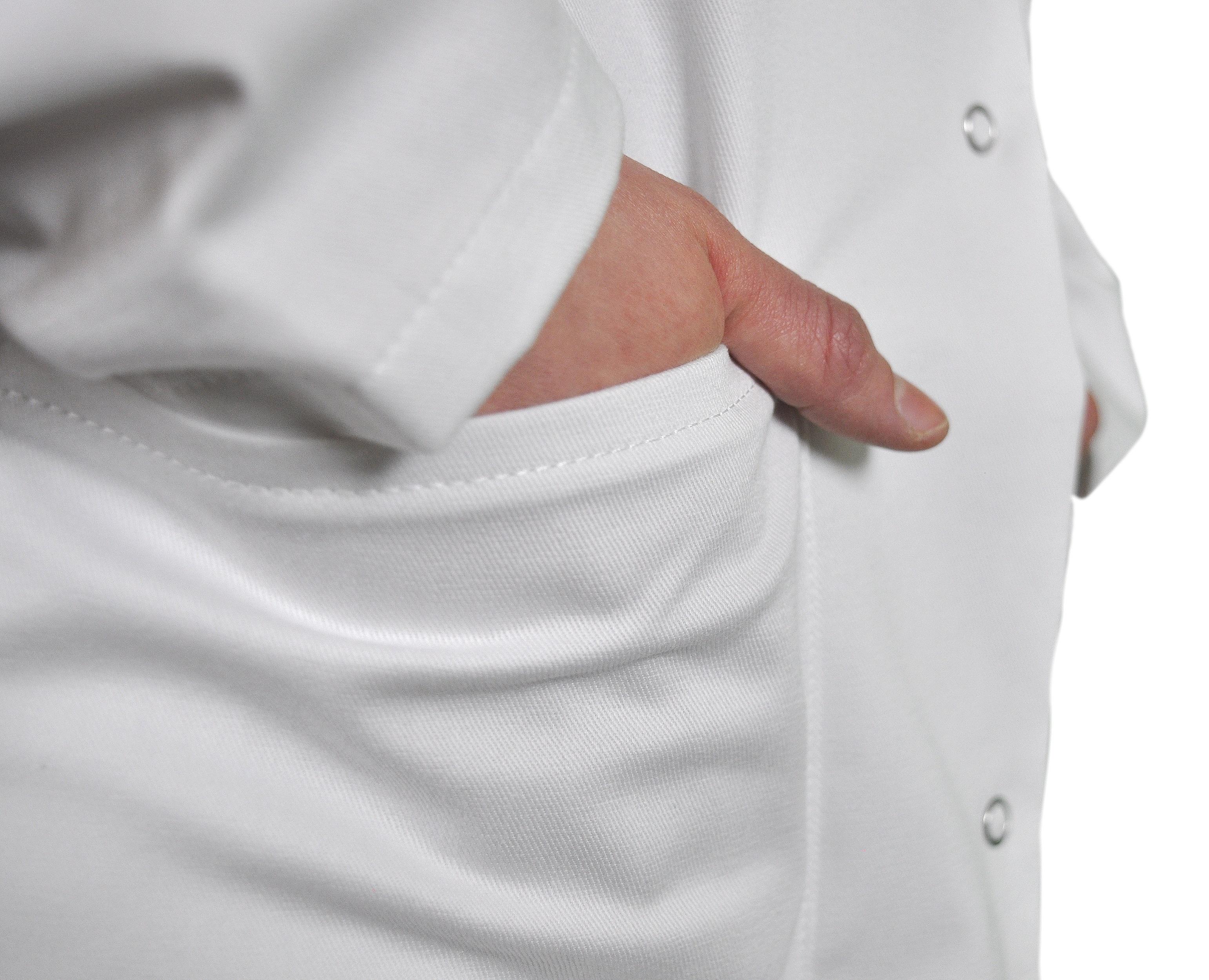 Kokott Damen Laborkittel mit Reverskragen, Knielang, 100% Baumwolle, Weiß