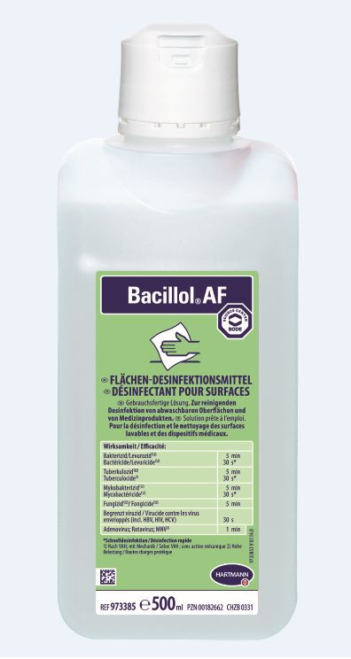 Bacillol AF,500ml Flächendesinfektionsmittelzur Desinfektion alkoholbeständiger Flächen, begrenzt viruzid