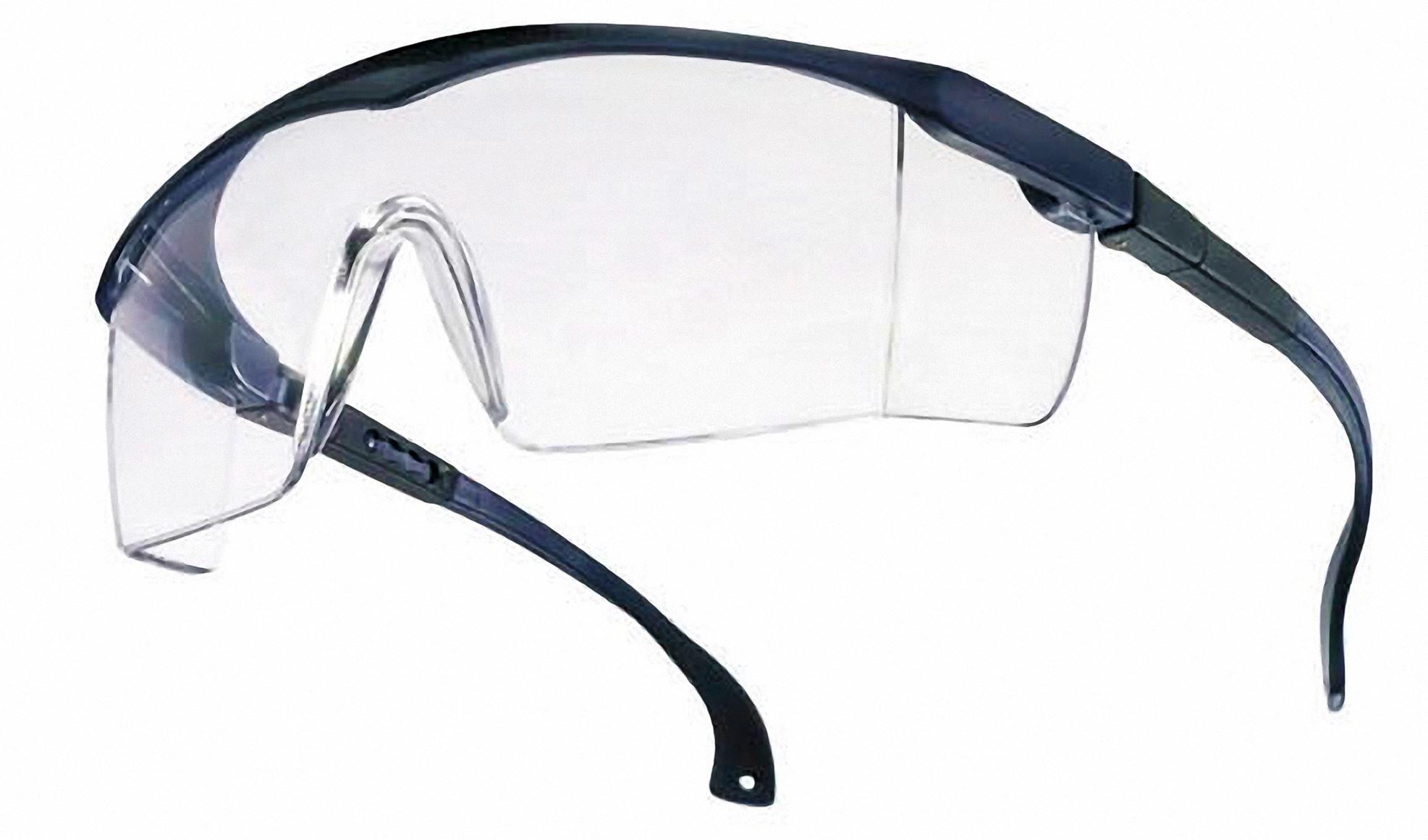 Schutzbrille BASIC klar EN166 blau verstellbarer Bügel Neigung und Länge